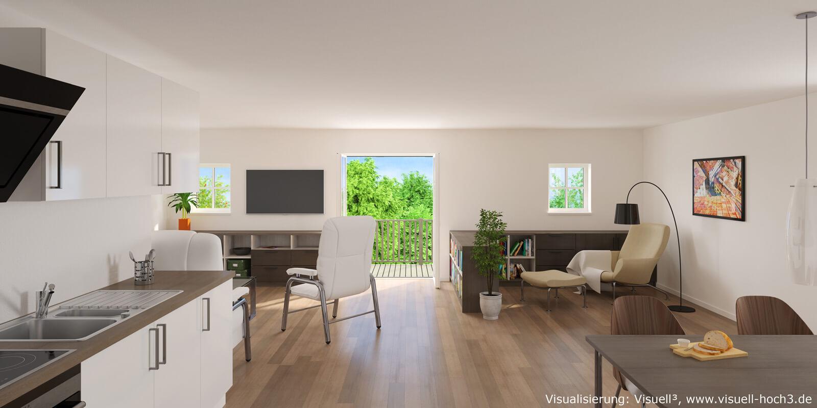 Innenraumvisualisierung einer Wohnung in Eutin  ©Visuell³
